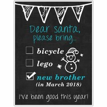 Dear Santa Personalized Pregnancy Announcement Chalkboard Sign Photo Prop Pos... - $15.35+