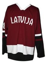 Zemgus Girgensons #28 Team Latvia Custom Hockey Jersey New Sewn Maroon Any Size image 1