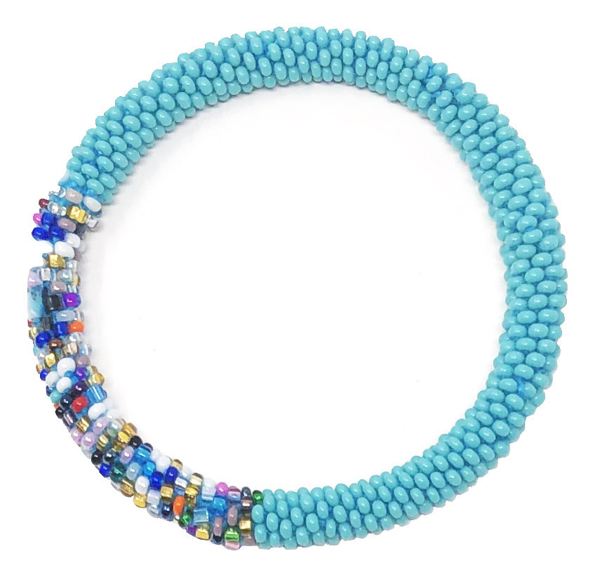 Primary image for Crochet Glass Seed Bead Nepal Boho Bracelet - Turquoise/Teal