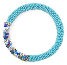 Crochet Glass Seed Bead Nepal Boho Bracelet - Turquoise/Teal - £4.63 GBP