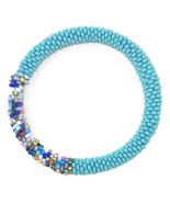 Crochet Glass Seed Bead Nepal Boho Bracelet - Turquoise/Teal - £4.56 GBP