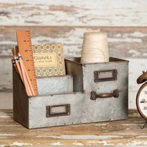 Desk Organizer Office Metal Three Bin Caddy Storage Supplies Vintage Rustic - €34,62 EUR