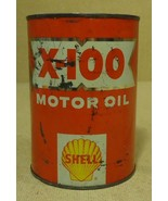 Shell X-100 Motor Oil 32floz  Vintage SAE 2020W  Oil Metal - $41.30