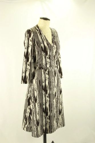 BCBG Max Azria S Brown Ivory Stripe True Wrap Dress Career Cocktail EUC 3/4 slv