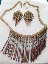 "gorgeous jewelry set multi strand beaded necklace 32"" & pierced earrings  - $49.99"