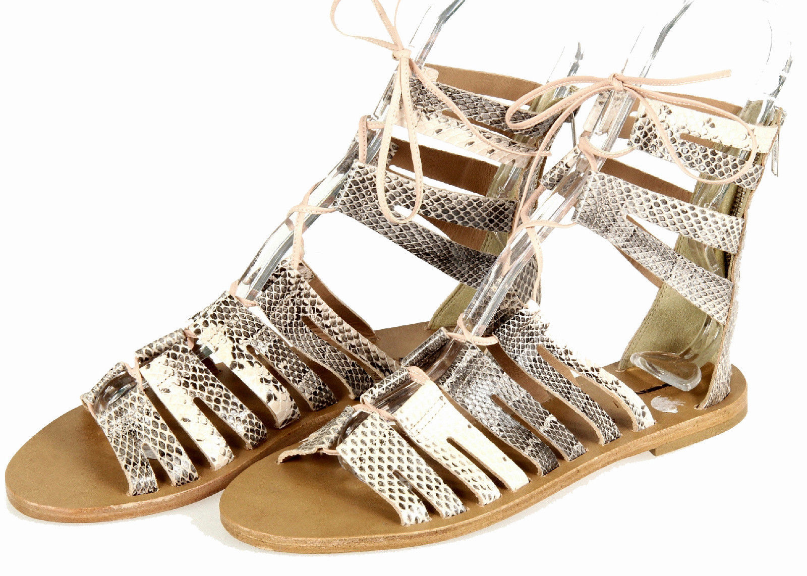 fe012f50b7dc J Crew Aztec Snakeskin Lace Up Gladiator Sandals 8 C4134 Womens Shoes Flats