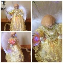 "12"" FIBER OPTIC LIGHT UP YELLOW /GOLD CHRISTMAS  ANGEL TREE TOPPER TABL... - $23.38"