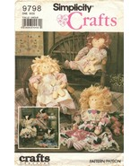 Simplicity Craft Pattern 9798 Stuffed Doll , Cow, Doll with Clothes Uncut - $11.95