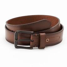 BRAND NEW LEVI'S MEN'S CLASSIC GENUINE LEATHER LOGO BUCKLE BELT BROWN 11LV02WH