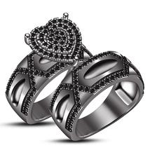 Round Cut Engagement Ring Set Matching Wedding Band 14K Solid Black Gold... - $75.00