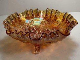 "Imperial Glass FOOTED BOWL Open Rose Marigold CARNIVAL Lustre Rose 8.5"" - $34.64"