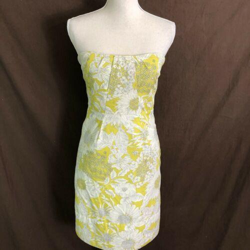 J Crew Women's Dress Printed Erica Strapless Floral Yellow Cotton Size 6 $275