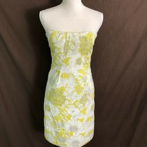 J Crew Women's Dress Printed Erica Strapless Floral Yellow Cotton Size 6... - $39.99