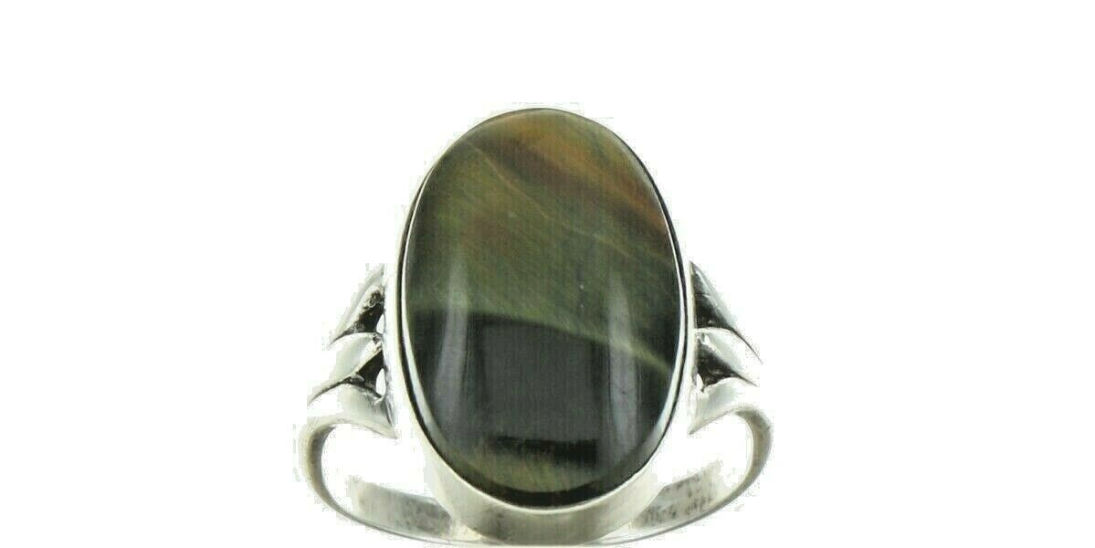 Ladies Size 6 Sterling Silver Natural Tigers Eye Cabochon Fashion Ring No. 2107