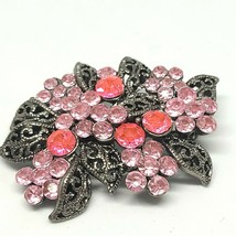 Pink Rhinestone Vintage Brooch Silvertone Filligre Pin Costume Jewelry - $12.76