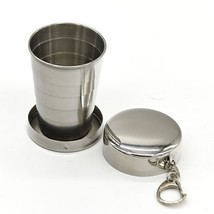 Outdoor Camping Trip Stainless Steel cup Folding Cup with key ring multi... - $10.50