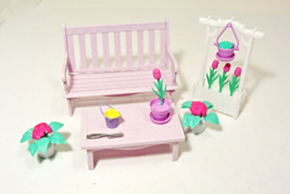 Lot of 14 Barbie Furniture Bench Table Trellis Flower Pot Purple Mattel ... - $19.99