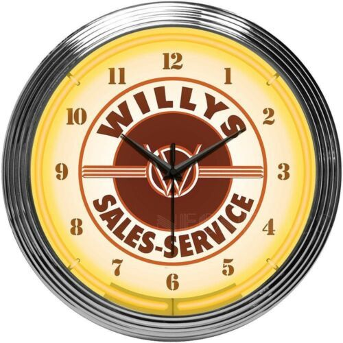 "Primary image for Jeep Willys Sales Service Neon Clock 15""x15"""
