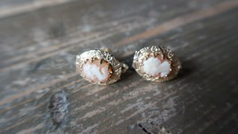 "Vintage Gold Tone Cameo Screw Earrings 5/8"" - $24.74"