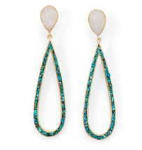 14 Karat Gold Plated Rainbow Moonstone and Turquoise Chip Post Earrings - $81.97