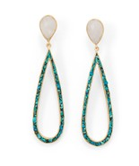 14 Karat Gold Plated Rainbow Moonstone and Turquoise Chip Post Earrings - $69.67