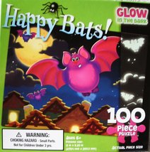 Monster Mates Happy Bats Glow In The Dark 100 Piece Puzzle - $9.79