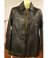 east 5th black leather jacket Women's size small button down blazer  - $29.99