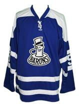 Any Name Number Cleveland Barons Retro Hockey Jersey Blue Glover Any Size image 4