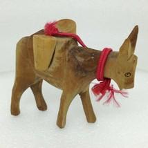 Vintage Carved Wood Folk Art DONKEY Mule Burro STATUE Figurine Carrying ... - $14.50