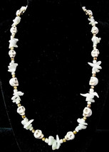 """20 1/2"""" Carved howlite skull, mother of pearl & czech glass bead necklace - $80.00"""