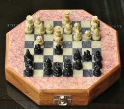 """INDIAN 6""""  Wood & Soapstone Octagon Chess Set  INDIA Hand Carved Unique ... - $29.69"""