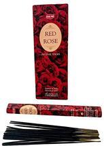 ABN Fashion Hem Red Rose Sticks Incense Natural Fragrance Hand Rolled In... - $17.66