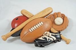 Vtg Football Baseball Gear Wall Plaque Sports Boy Girl Room Decor Plasti... - $9.28
