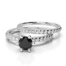 1.90Ct Black Simulated Diamond 14K White Gold Over Wedding Bridal Ring Set  - $99.99