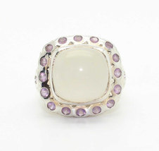 Stunning Vintage Modernist Bubbles Square MOONSTONE Pink Quartz Ring-Est... - $44.99