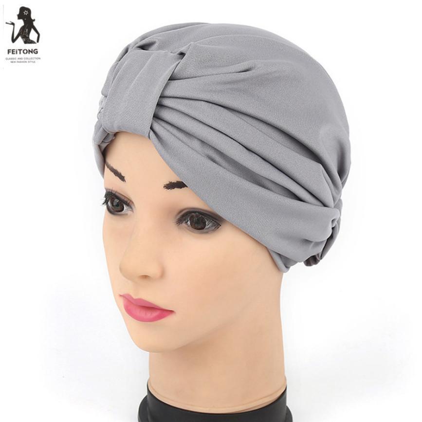07945b3a3b11d Women india gilding stretch turban hat chemo cap hijab hair loss head scarf  wrap the solid