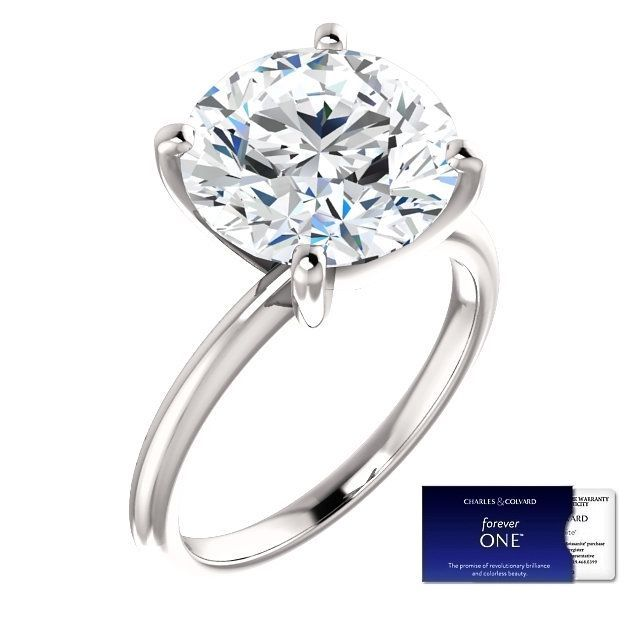 5.00 Carat Moissanite Forever One Solitaire Ring 14KGold (Charles&Colvard)