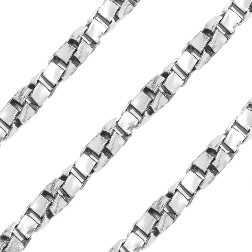 3mm 14k White Gold 925 Sterling Silver Twist Box Link Men Italian Chain Necklace