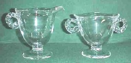 Fostoria Clear Glass #2560 Coronet Sugar & Creamer Ram Horn Handle - $19.99