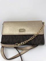 NWT Michael Kors Jet Set  Large Phone  Crossbody Bag/brown Gold - $82.28