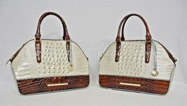 NWT Brahmin Hudson Satchel/Shoulder Bag in Linen Tri-Texture Beige, Pecan & Teal image 10
