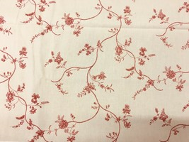 Laura Ashley English Country Print Red and Cream Floral Print Fabric 1.3... - $26.13
