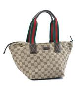 GUCCI Web Sherry Line GG Canvas Tote Bag Brown Auth sa2086 - $350.00