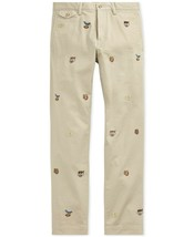 New Men's POLO Ralph Lauren Embroidered Chino Pants Stretch Slim Fit W34 L34 - $60.00