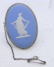 VTG WEDGWOOD .925 Sterling Silver Blue Jasper ware Goddess Pin Brooch - $148.50