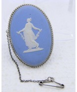 VTG WEDGWOOD .925 Sterling Silver Blue Jasper ware Goddess Pin Brooch - $148.50
