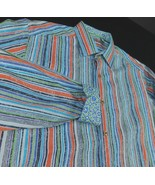 Robert Graham Exclusive Striped Flip Cuff Dress Shirt Classic Fit Sz M - $49.99