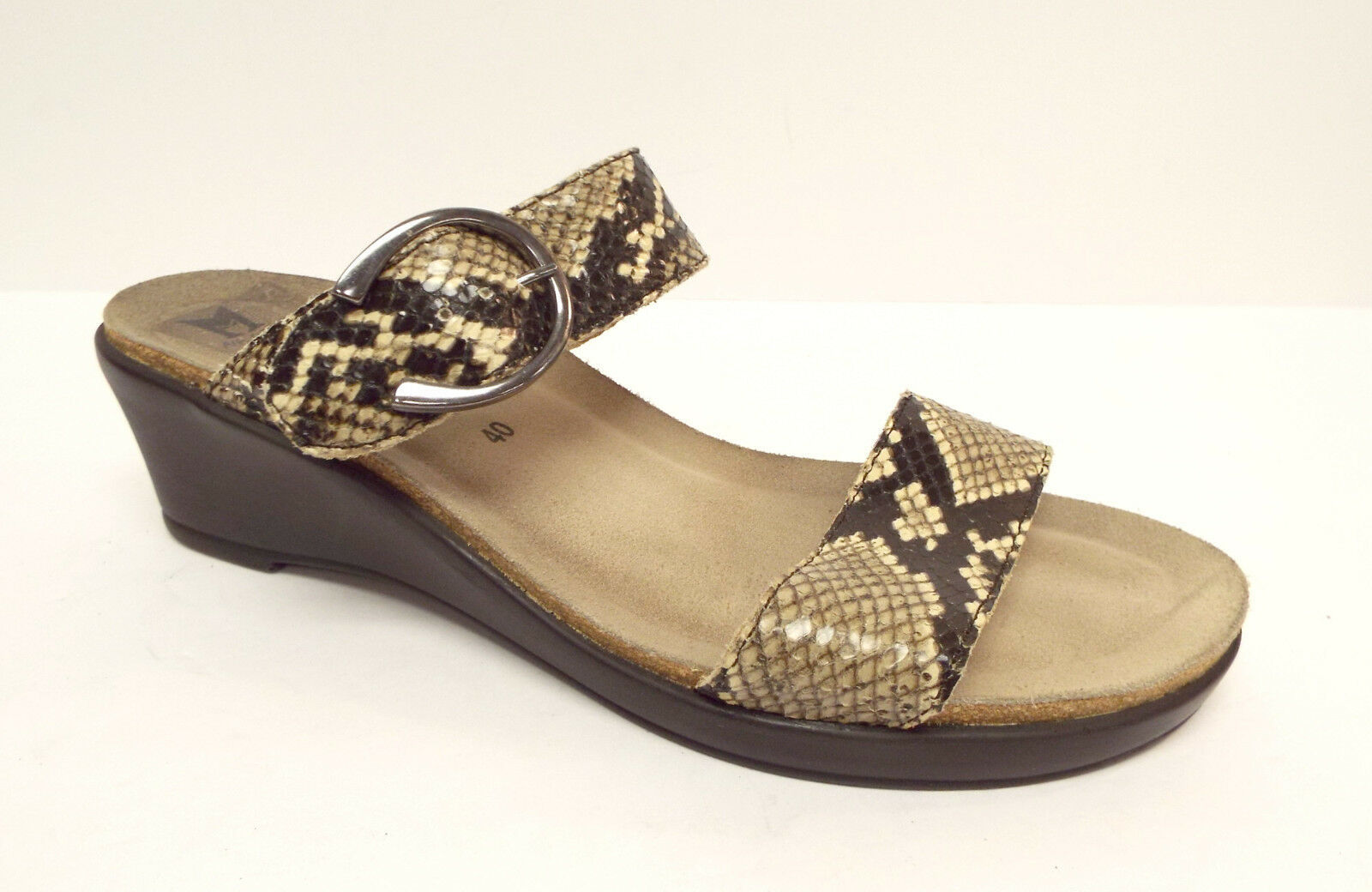 MEPHISTO Size 9 Snake Print Leather Wedge Slide Sandals Shoes 40