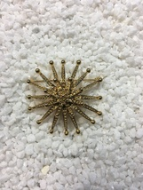 Vintage Monet Gold Tone Atomic Beaded Starburst Brooch Pin 3D - $28.00