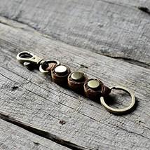 Genuine Distressed Leather Keychain Walnut Leather Key Holder Mens Key Chain Rin